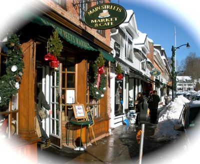 New England small town shops in winter